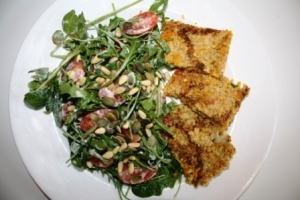 grandmas-cheese-flapjack-and-salad